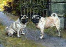 """Companions at the Gate"" Limited Edition Pug Fine Art Print by British Artist Roger Inman"